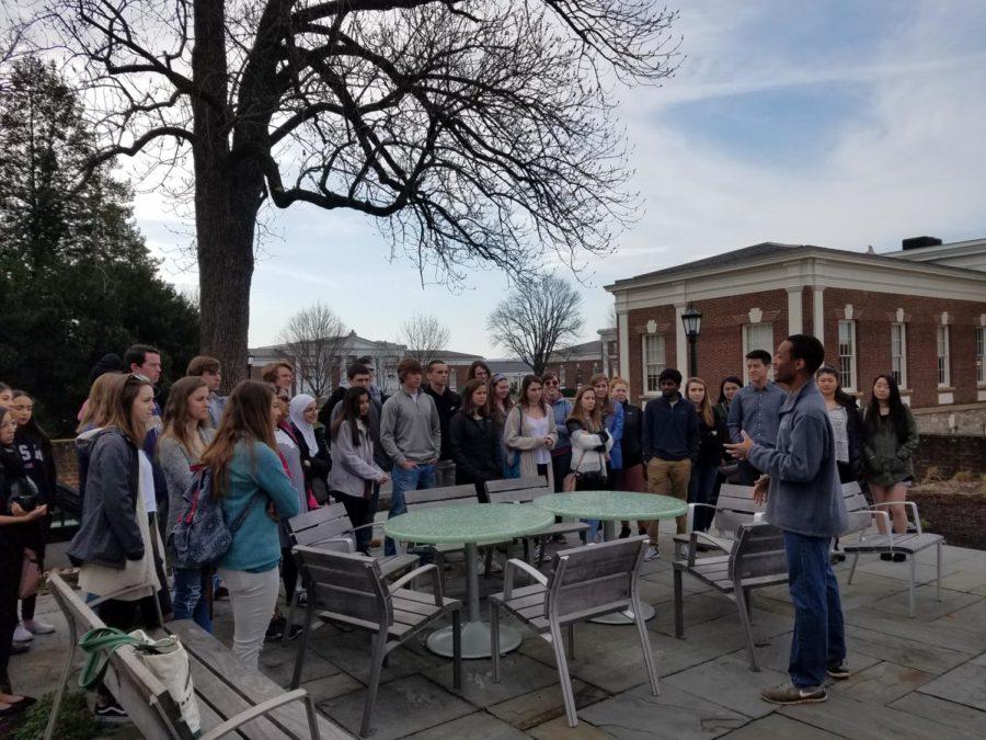 Midlo Spanish students listen to Midlo alum and UVa. Senior Class President, Malcolm Stewart.