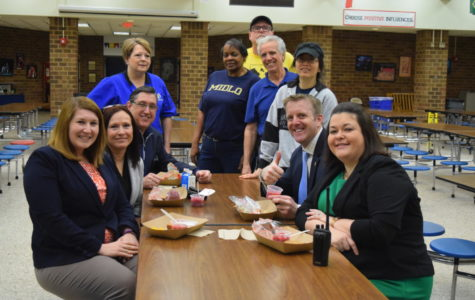 Members of Midlo's administration enjoy complimentary breakfasts during National School Lunches week.