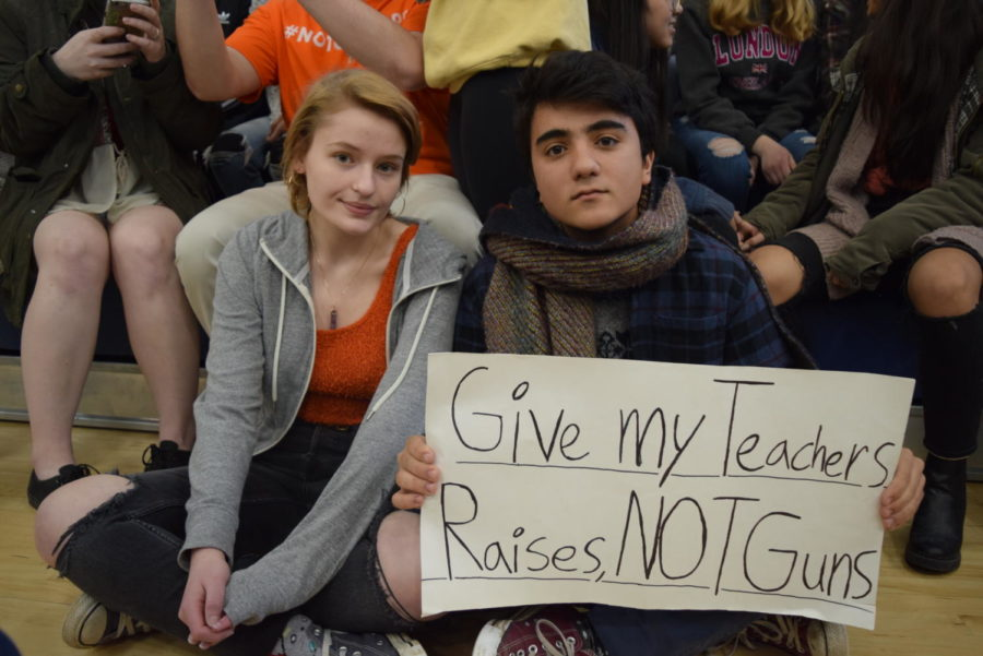 Seniors Nicole Coppino and Vincent Mangano participate in National Walkout Day.
