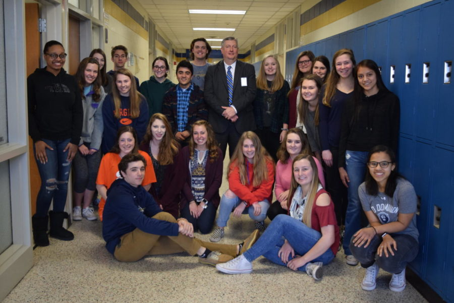 CCPS Communications Director Tim Bullis visits a Midlo Service Learning class.