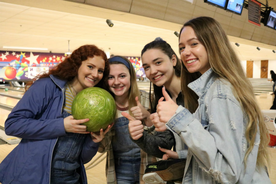 Caroline Seely, Audrey Longstaff, Ana Lumpkin, and Jadyn Foot lead the Pin Pals, the sophomore class bowling team.