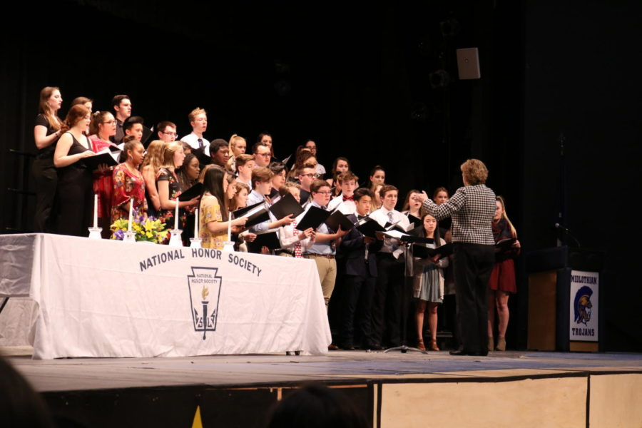 Just For Show, led by Michelle Graham, performs for the National Honor Society induction.
