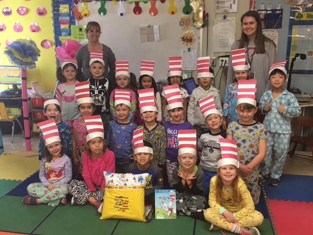 Mrs.+McMullen%27s+kindergarten+class+celebrates+Dr.+Seuss+Day+with+Cat+in+the+Hat+hats+and+a+special+gift+from+Mrs.+Klotz.