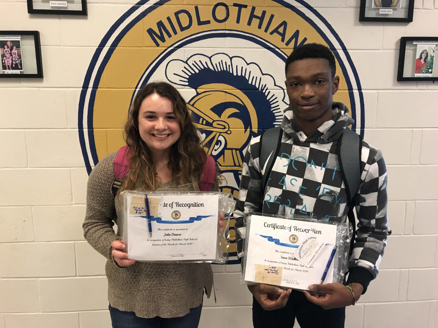 Congratulations Jaron Walker and Julie Deaver: Midlo's March Student All-Stars
