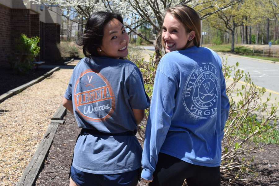 Joy Li and Jenna Kyte represent their future school, the University of Virginia.