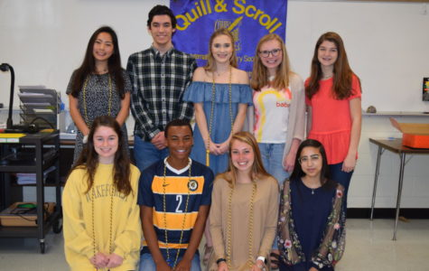 Quill & Scroll inductees exhibit superior work on Midlo's publications. Pictured: (front row) Elise Pritchard, BJ Beckwith, Eva Johnson, and Nabiha Rais; (back row) Joy Li, Maclane Self, Katie Patrick, Madison McCallum, and Ashley Manheim; (not pictured) Jenna Kyte and Riley Townsend