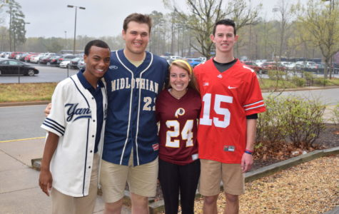 BJ Beckwith, Ben Hammond, Eva Johnson, and Kyle Daniluk celebrated Jersey Monday during Senior Spirit Week.