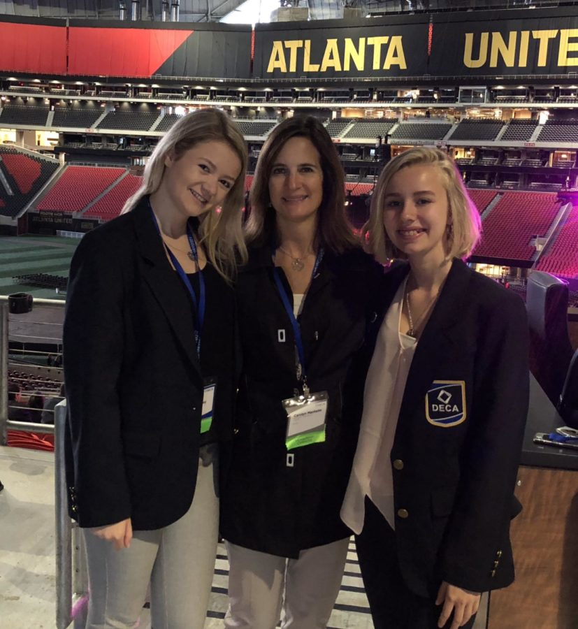 Midlo junior Lauren Hensley, Midlo Marketing teacher and DECA sponsor Mrs. Carolyn Manheim, and Manchester High student Alexandra Chapman, traveled to Atlanta, GA, for DECA Nationals.