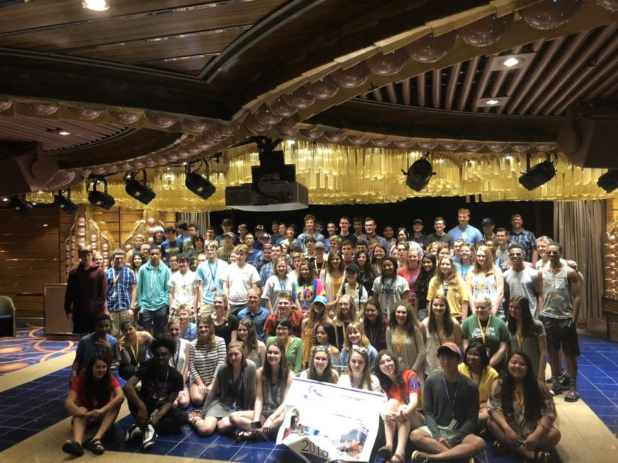 Midlothian musical students all combine together, as they represent Virginia on the cruise ship.