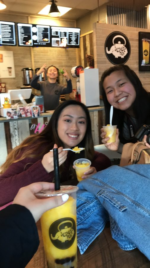 Amanda Chok and Zowie Geng enjoy Kokee Bubble Tea inside Zzaam! at the Carytown location.