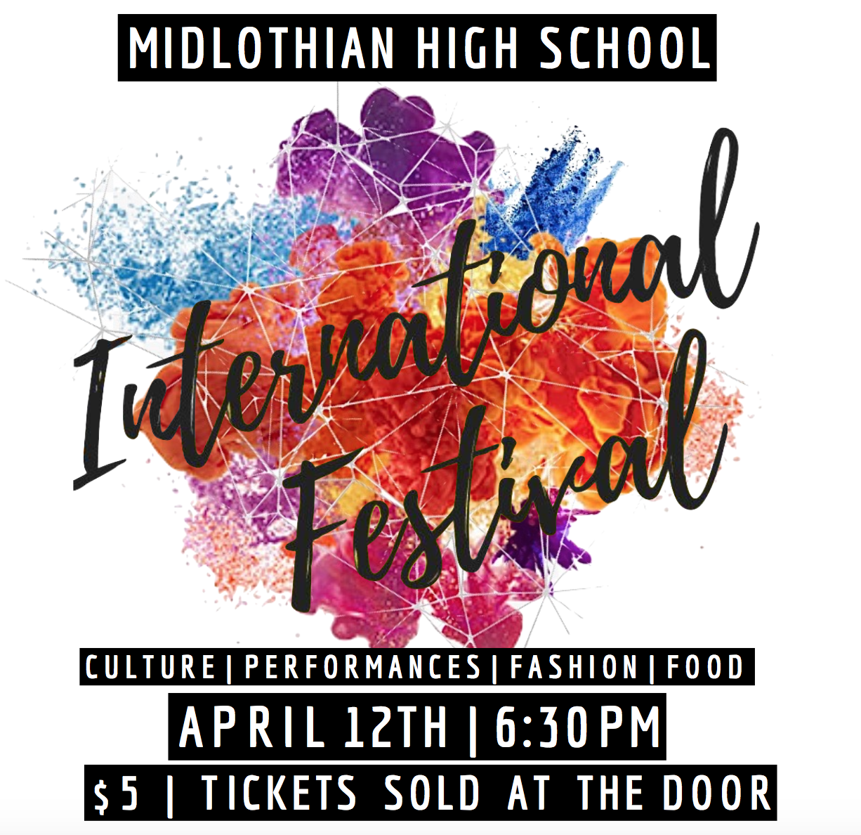 Midlothian High School's International Festival on April 12th at 6:30 PM