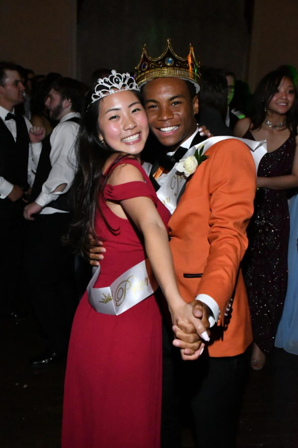 Prom Queen Joy Li and Prom King BJ Beckwith enjoy the magical moment.