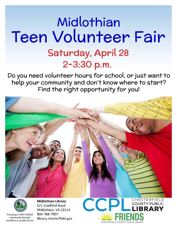 Come to the Midlothian Teen Volunteer Fair to discover volunteer opportunities in the area.
