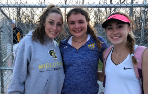 Abby Lamere, Ashley Peterson, and Julia Deaver celebrate the singles and doubles match winners.