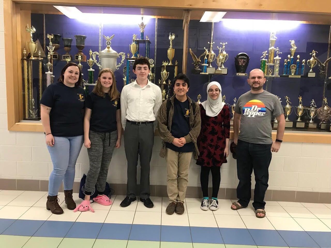 From left; Ms. Megan Rebman, Courtney Galligher, Quentin Phillips(third from left), Vincent Mangano , Nour Goulmamine, and Mr. Daniel Cheatham. Midlo Forensics competed at King George High School for the Super Regionals.   Quentin Phillips went on to win a silver medals at the state competition.