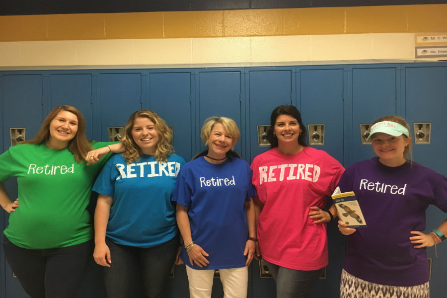 During Teacher Appreciation Week 2017, Midlo English teachers celebrated Mrs. Tucker's impending retirement on Twin Day.