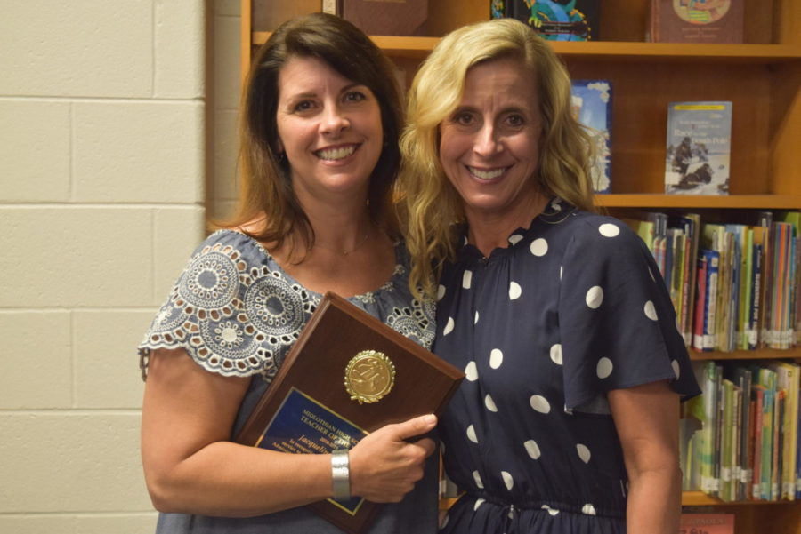 Mrs. Jackie Tully and her sister, Mrs. Tammy Venhuizen, celebrate Mrs. Tully's Midlo Teacher of the Year recognition together.