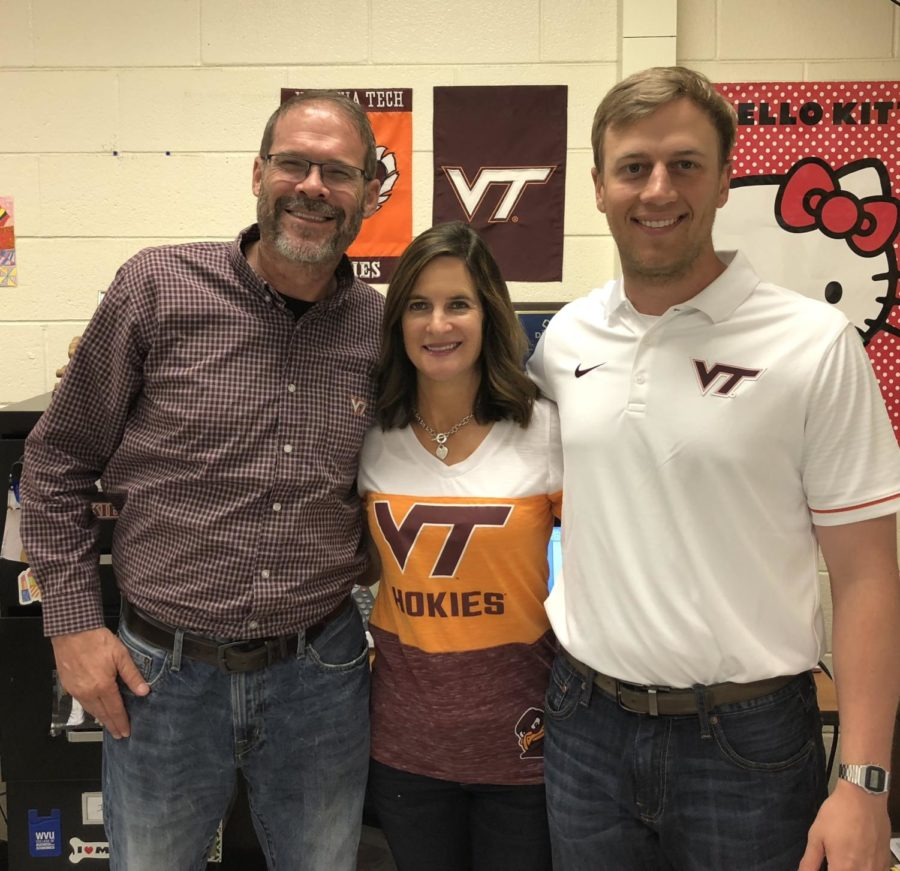 Mr. Latham, Mrs. Manheim, and Mr. Shrum show their VT pride during Teacher Spirit Week.