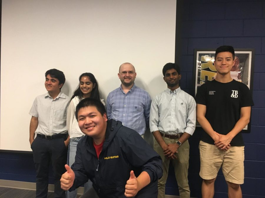 Seniors Vincent Mangano, Joitree Alam, YJ Xu, Sai Poluri, and Jason Li enjoy one last debate and forensic banquet before they leave high school.