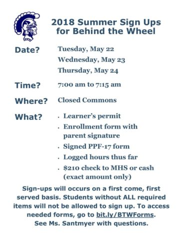 Summer Behind the Wheel Registration