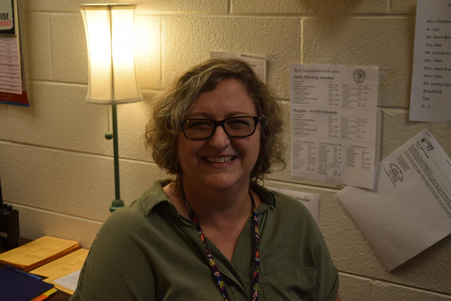 New Clinic Assistant, Mrs. Tami Harlan, joins the Midlo school community with good intentions.