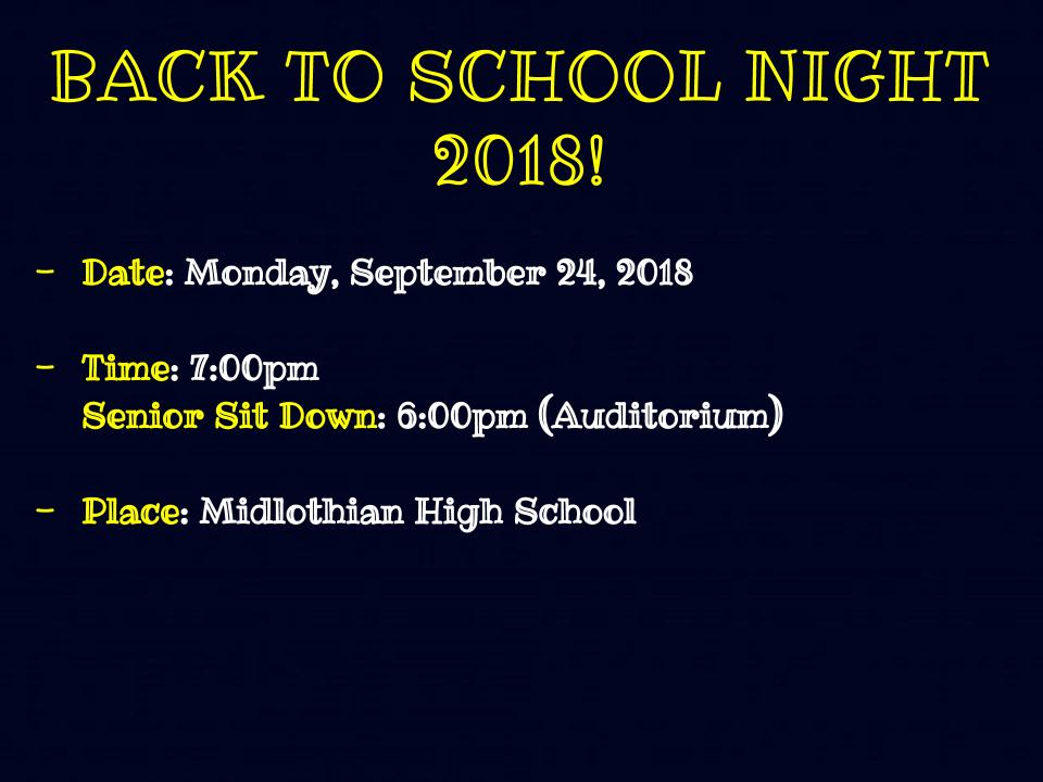 Information on Back to School Night 2018.
