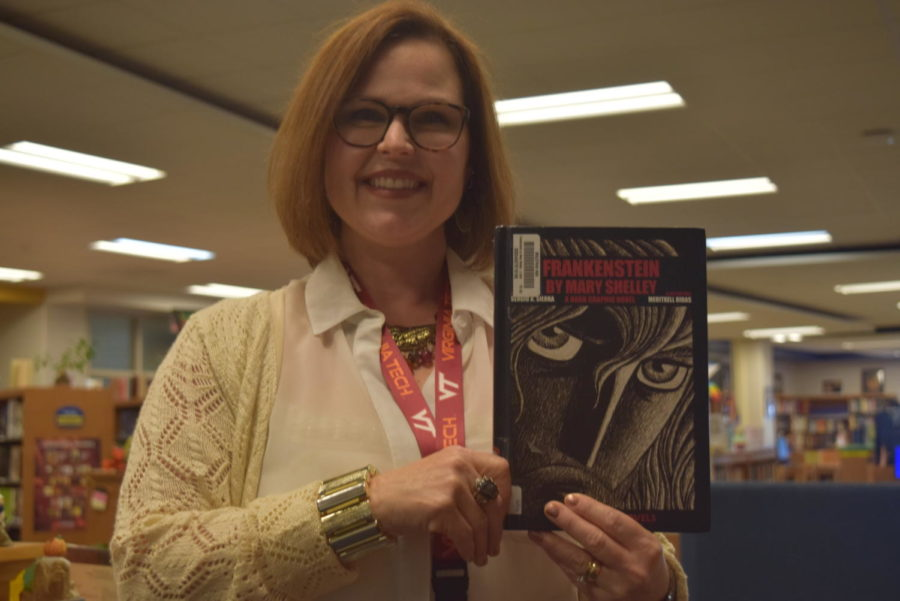 Mrs. Heather Murfee, the Head Librarian, recommends students to read the graphic novel of Frankenstein.