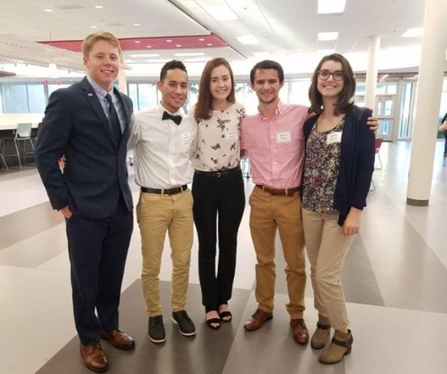 William Heslink, Josue Candelaria, Delaney Novak, Spencer Willett, and Brianna Cantrall prepare to shadow their government officials at Model County Government.
