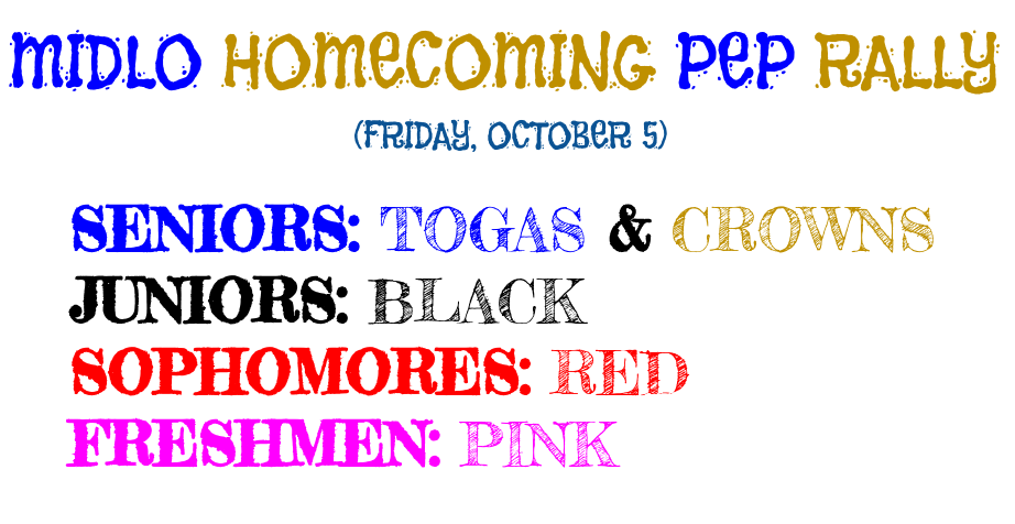 Midlo's Homecoming pep rally colors are announced!