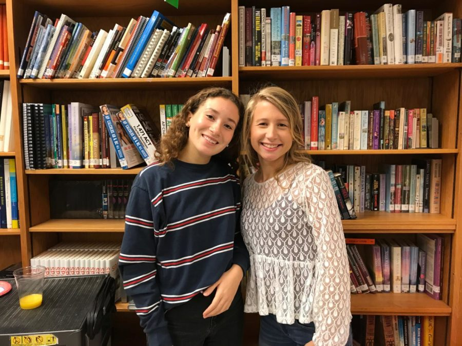 Zoe+Claudel+and+her+French+exchange+student%2C+Alex+Mandois+enjoy+their+catered+breakfast+in+the+library.+