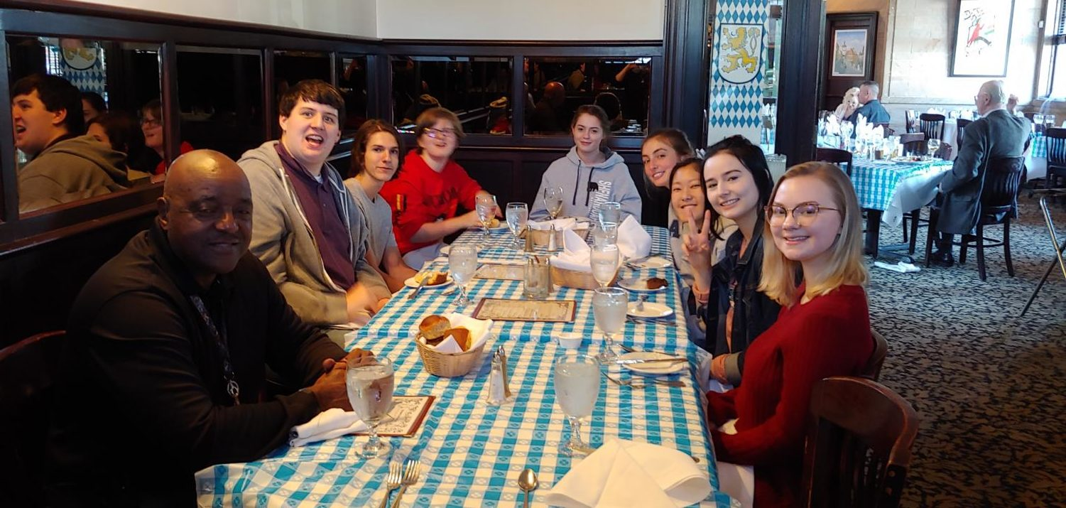 German students enjoy a meal at the Bavarian Chef restaurant.
