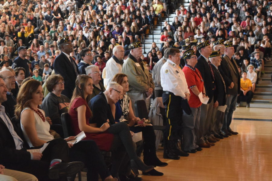 Honored veterans stood during the Armed Forces Medley.