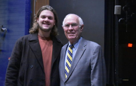 Carson Fuller proudly joins his grandfather William Durrette before Mr. Durrette's adrdress to Midlo AP Government students.