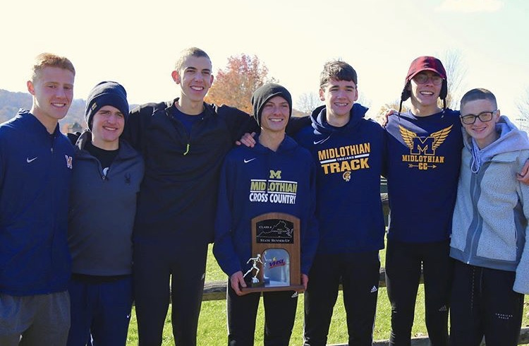 The Midlo XC Boys enjoy the glory of becoming State Runners-Up at the VHSL State Championship Race.