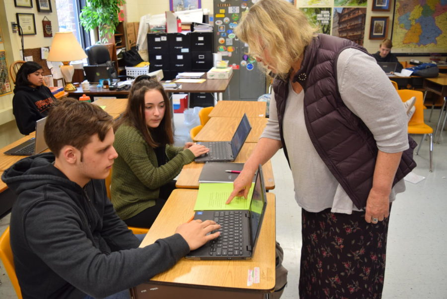 Frau Boer instructs her students on their animation Hour of Code task.