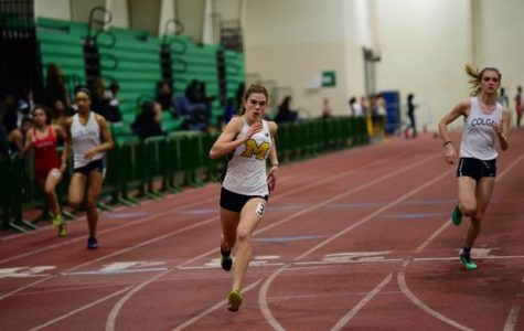 Caroline Bowe competes in the 500 meter run at the Pat Covas Invitational.