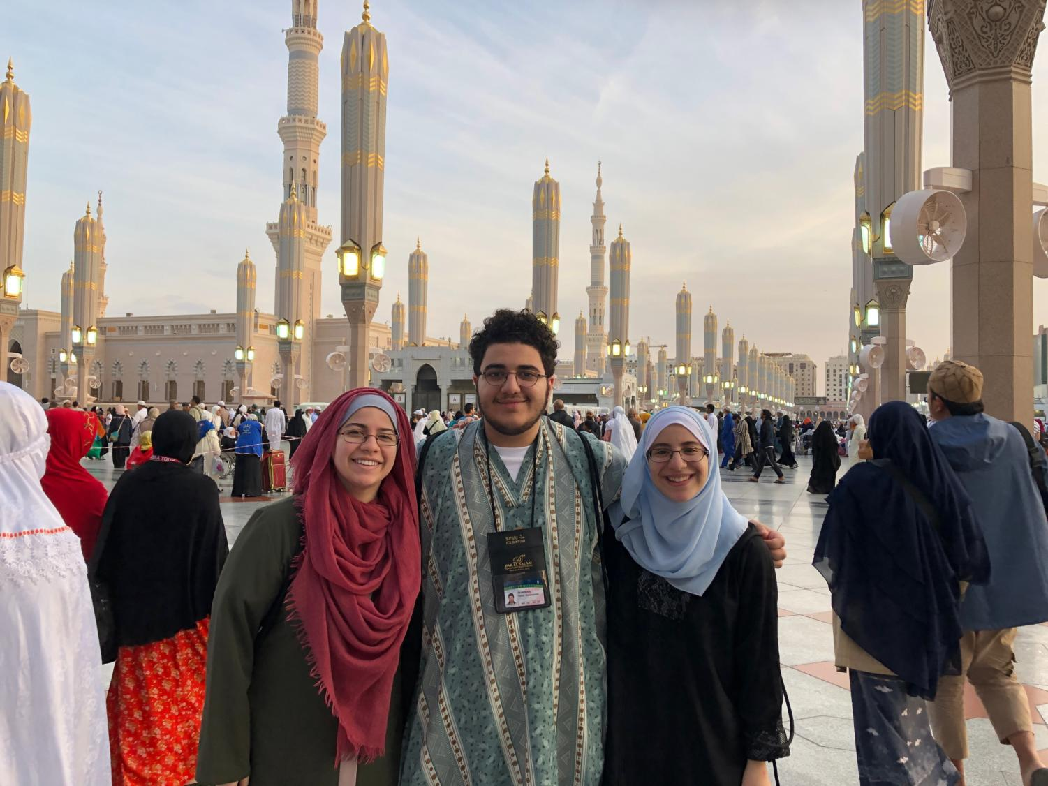 Siblings Syreen, Yusuf and Nour Goulmamine visit Masjid Al-Nabawi, one of the oldest mosques in Muslim history.