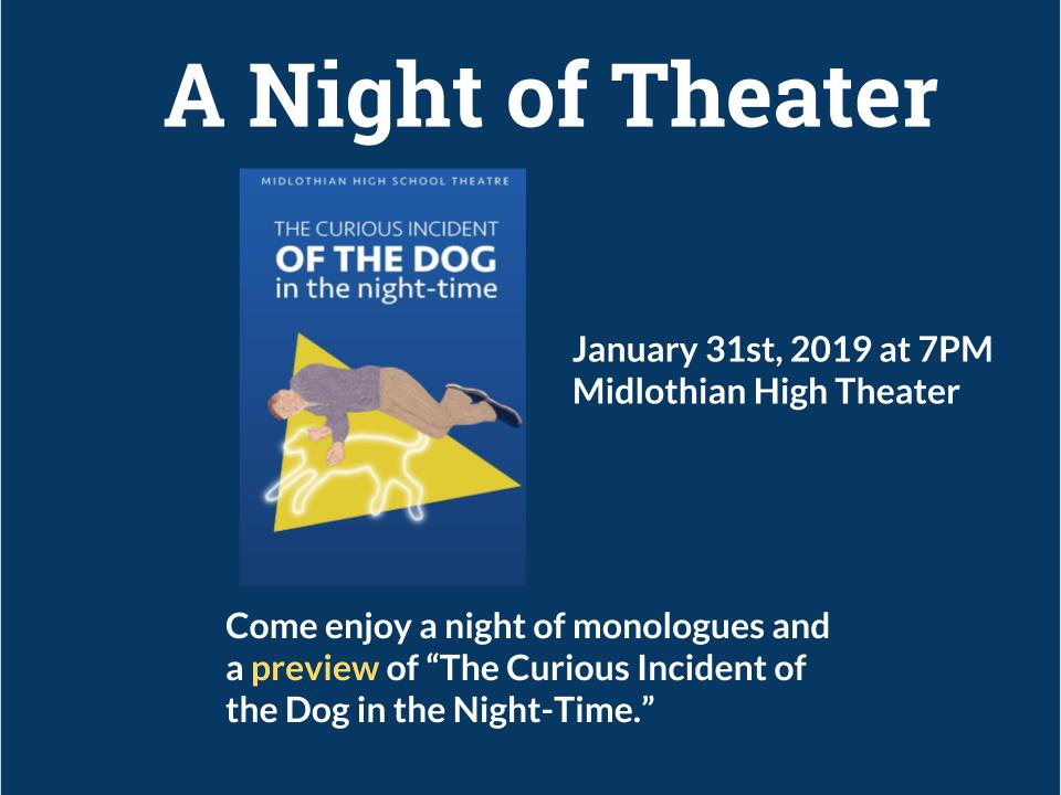 Come out and support Midlothian Theater on January 31, at 7:00 pm.
