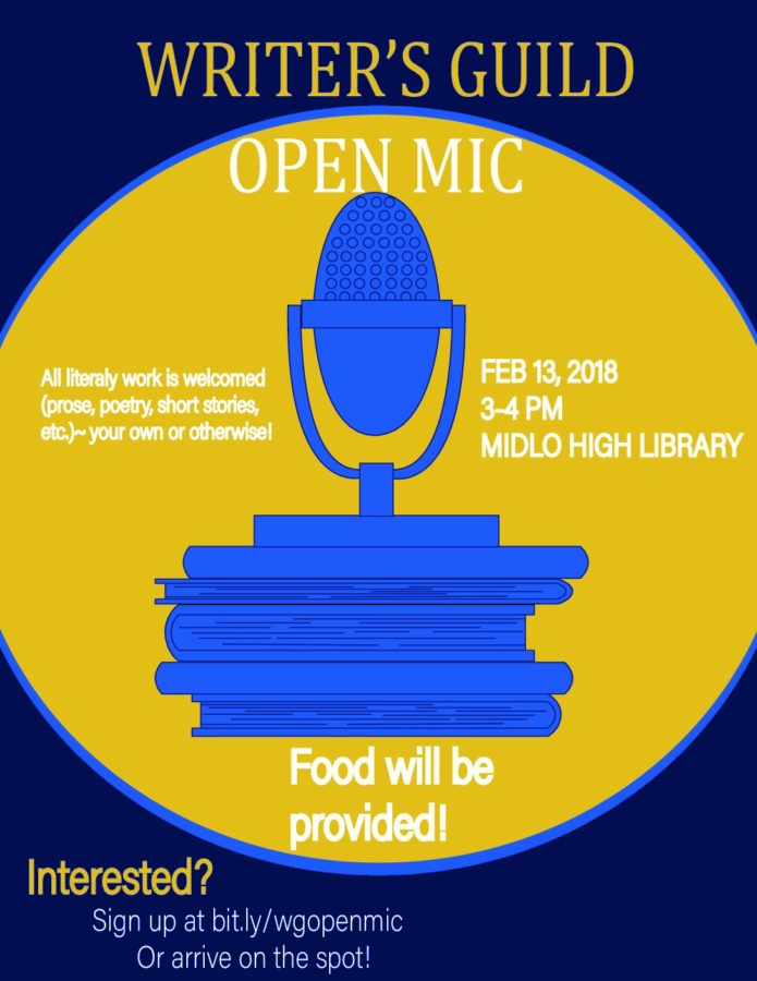 Perform at the Writer's Guild Open Mic on February 13th.
