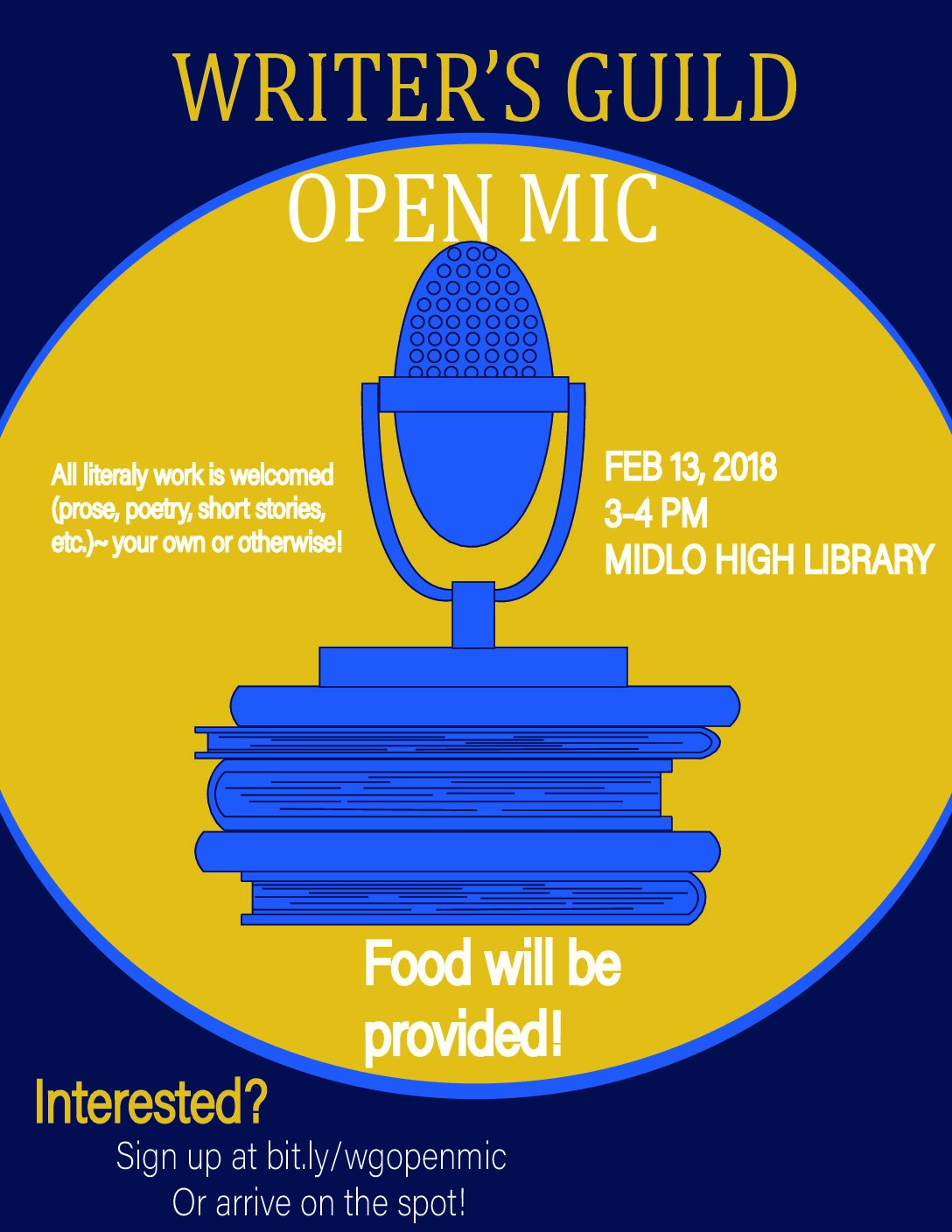 Come Perform at the Writer's Guild Open Mic!