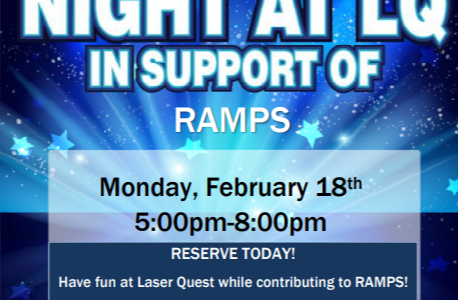 Come out to Laser Quest on February 18th to support Midlo's RAMPS club.
