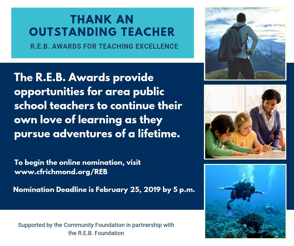 Nominate a deserving CCPS teacher for an R.E.B. Award today!
