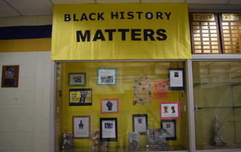 The Breaking Down Barriers Club assembled a display case dedicated to Black History Month in the open commons.