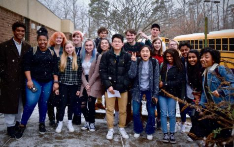The IB Class of 2019 stand in the midst of the snow to be recognized for submitting their final IB Extended Essays (not pictured: Nabiha Rais)