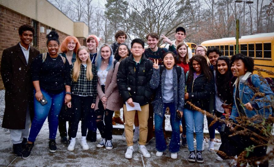 The+IB+Class+of+2019+stand+in+the+midst+of+the+snow+to+be+recognized+for+submitting+their+final+IB+Extended+Essays+%28not+pictured%3A+Nabiha+Rais%29