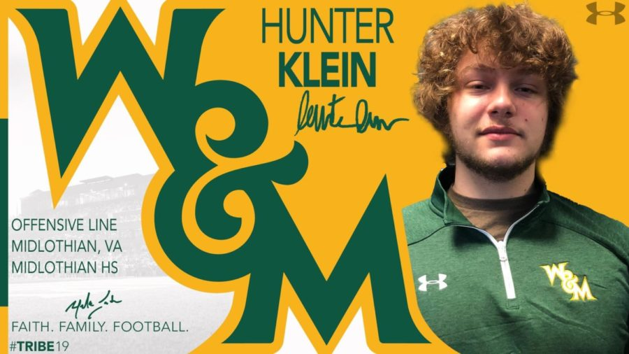 Senior Hunter Klein commits to play Division I football at the College of William and Mary.