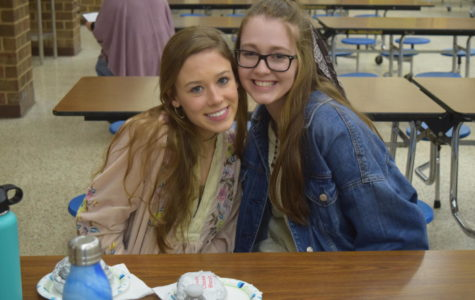 RISE recipients Sophie King and Gia Schiavone enjoy fresh Chick-Fil-A sandwiches in the open commons.
