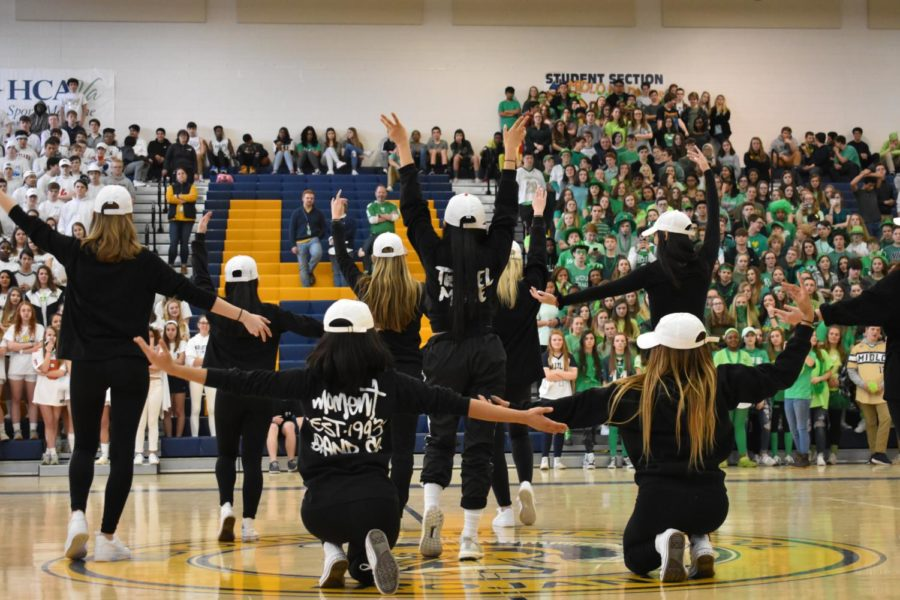 The seniors strike a pose at the end of their dance routine at the Spring Pep Rally.