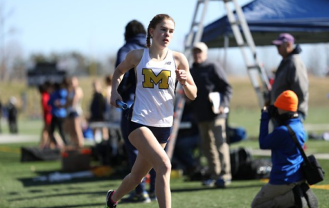 Sophomore Caroline Bowe leads off the 4x800 meter relay for Midlo at the Brian Watkins Invitational.