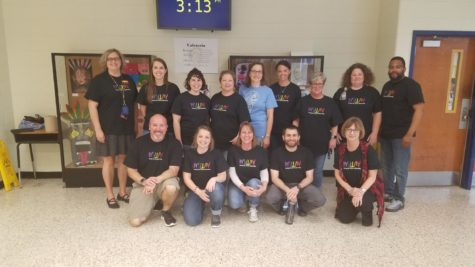 Midlo faculty and staff show their pride by wearing Autism Awareness t-shirts.
